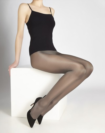 Cecilia de Rafael - Elegant glossy diamond patterned tights Daphne, anthracite, size S
