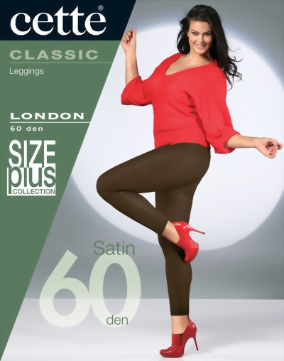 Cette - 60 denier opaque plus size leggings London, black, size XXL