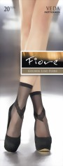 Fiore - Elegant patterned socks Veda 20 denier, white