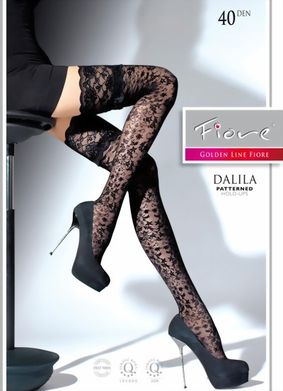 2cbad3b28 Fiore - Floral pattern hold ups with beautiful lace top Dalila 40 denier