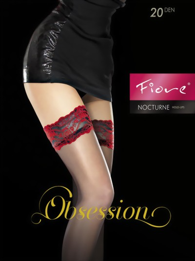 d4efb5212 Fiore - Sensuous hold ups with red lace top Nocturne