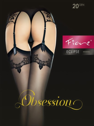 Fiore - Sensuous stockings with floral pattern top Eclipse, 20 denier, black, size S