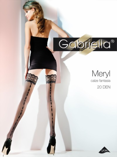 Gabriella - Beautiful sensuous patterned hold ups Meryl, 20 DEN, white, size M/L