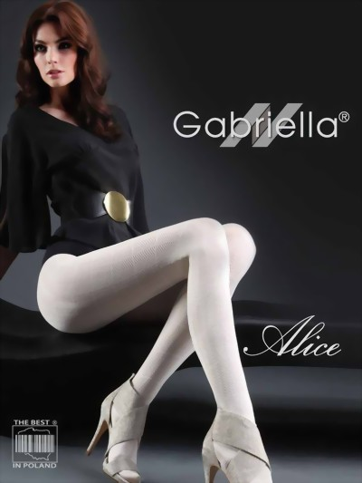 Gabriella - Elegant patterned tights Alice, ecru, size M