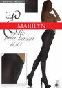 Marilyn - Hipster tights with elegant lace finish at the top Vita bassa 100 DEN, grey, size M/L