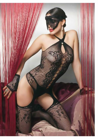 Trasparenze - Fishnet Bodystocking with sophisticated cut outs Demetra, black, size M/L